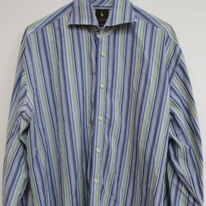 TailorByrd Long Sleeve Striped Button Front Shirt